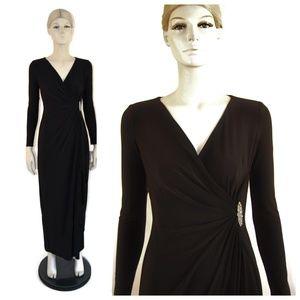 Ralph Lauren Black Long Sleeeve Jersey Gown 2P NWT